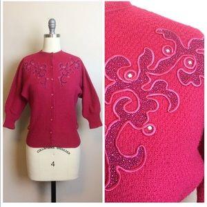 Vintage 1950s Beaded Wool Sweater Cardigan